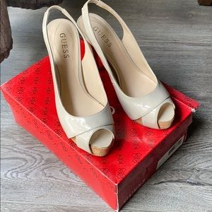 Guess patent leather peep toe heels